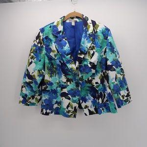 Dressbarn Floral One Button Blazer Jacket Coat